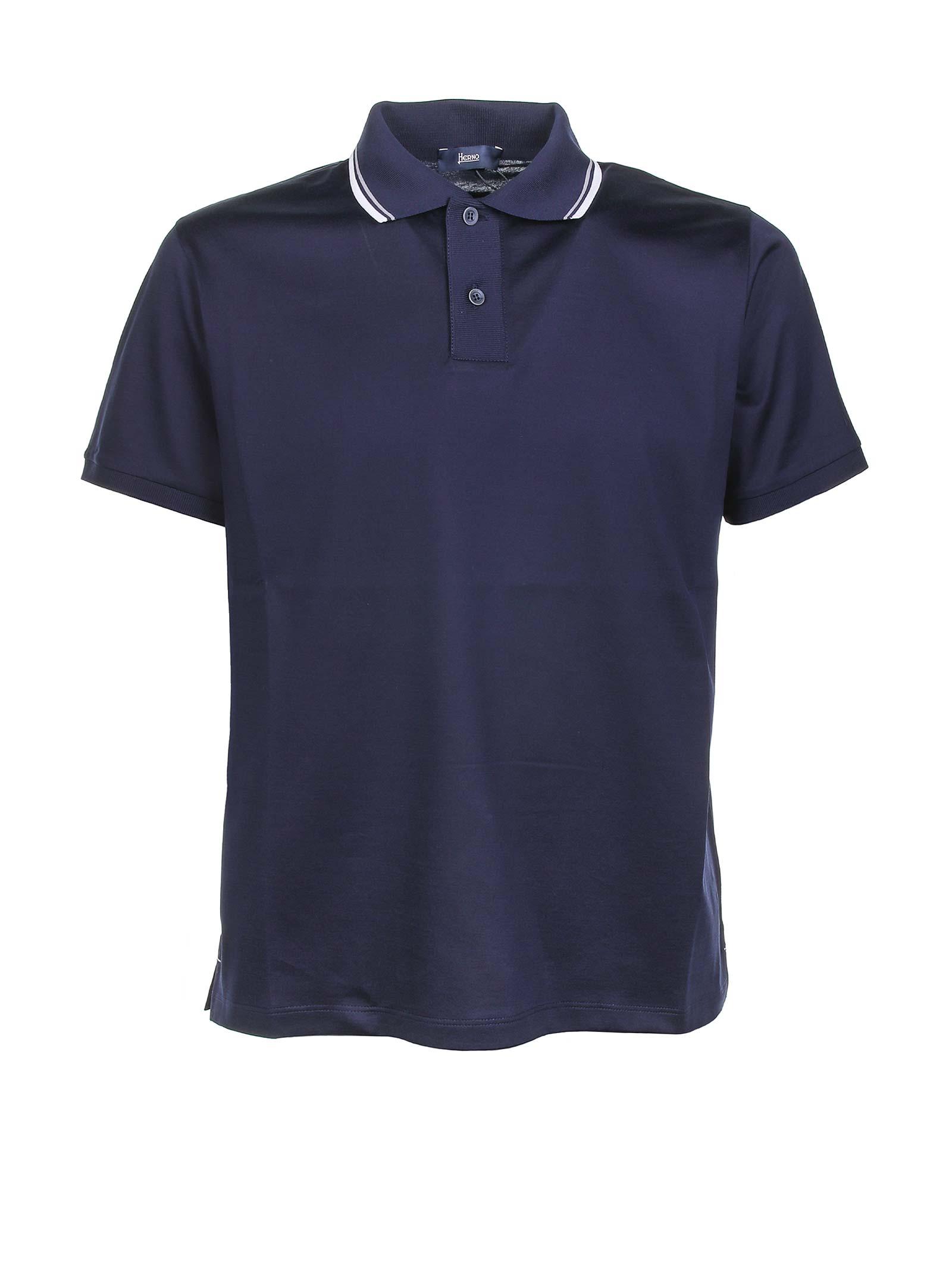 Stripe Trimmed Collar Polo Shirt