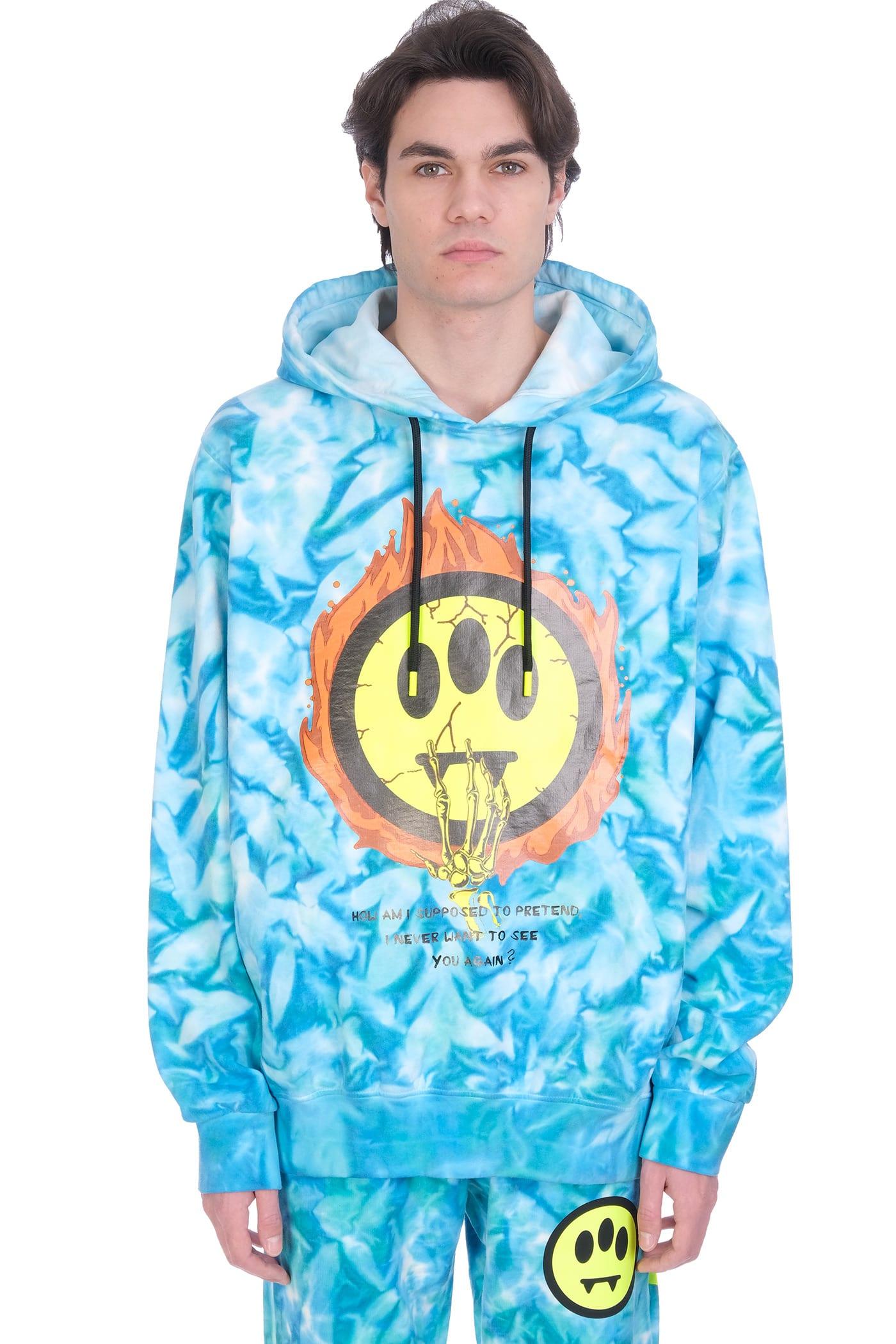 Barrow Sweatshirt In Cyan Cotton
