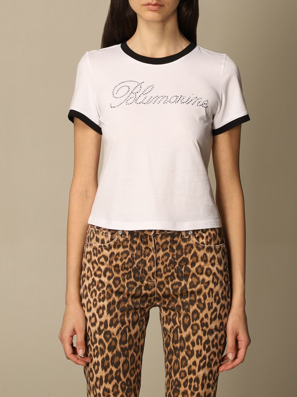 Blumarine T-shirt Blumarine Cotton T-shirt With Rhinestone Logo