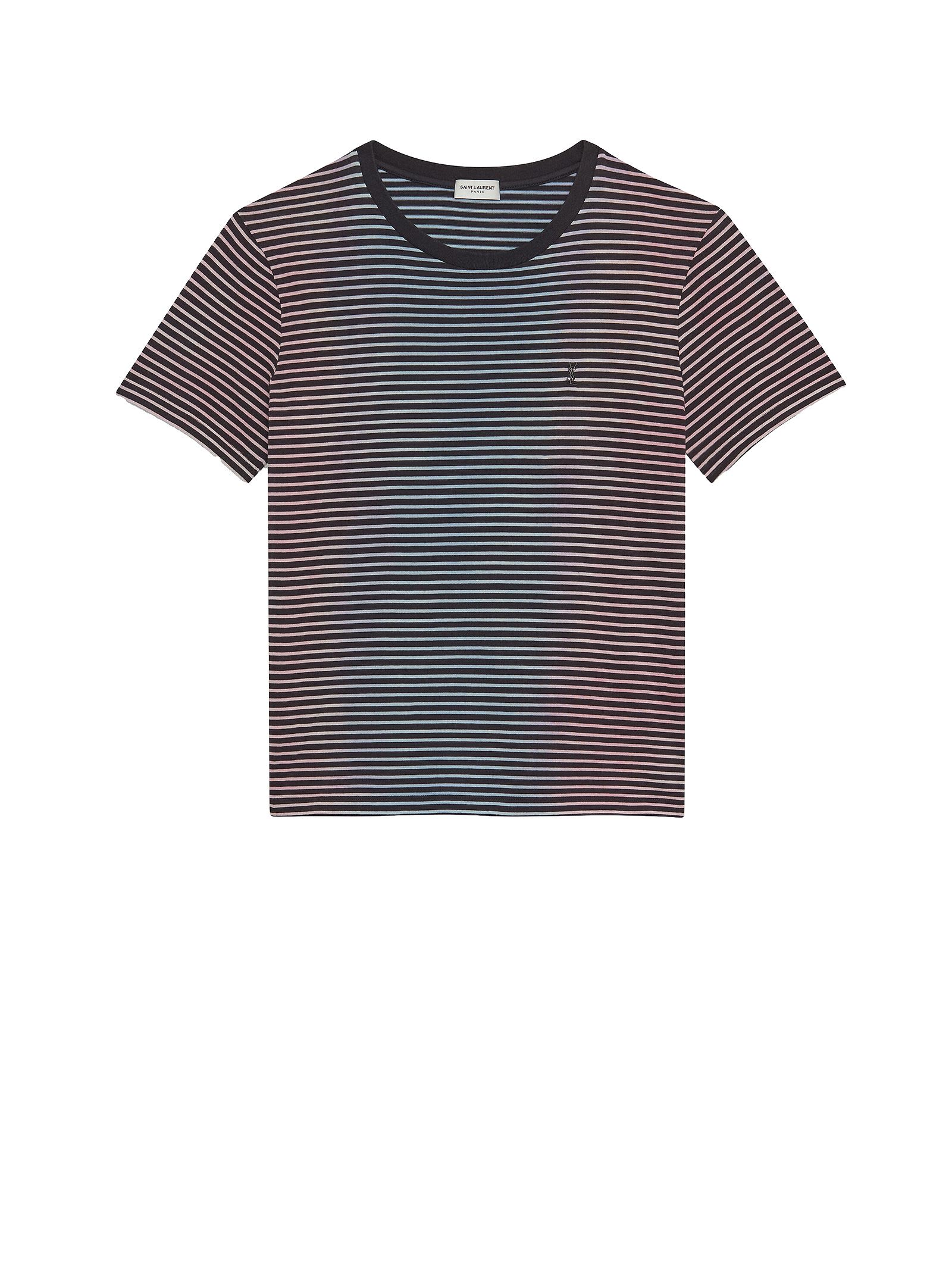 Saint Laurent Saint Laurent Embroidered Logo Striped T-shirt