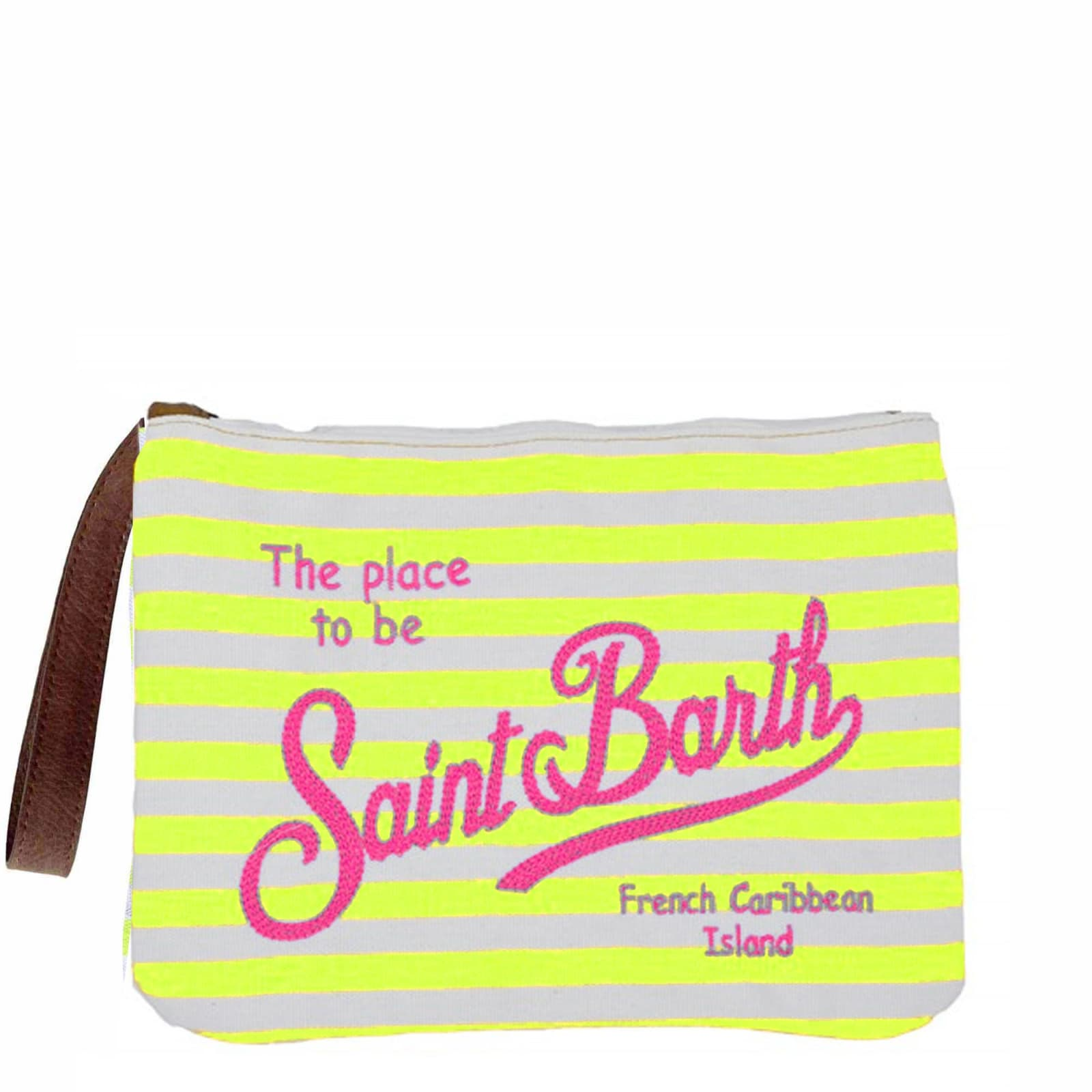 Fluo Yellow Striped Canvas Pochette Whit Embroidered Saint Barth