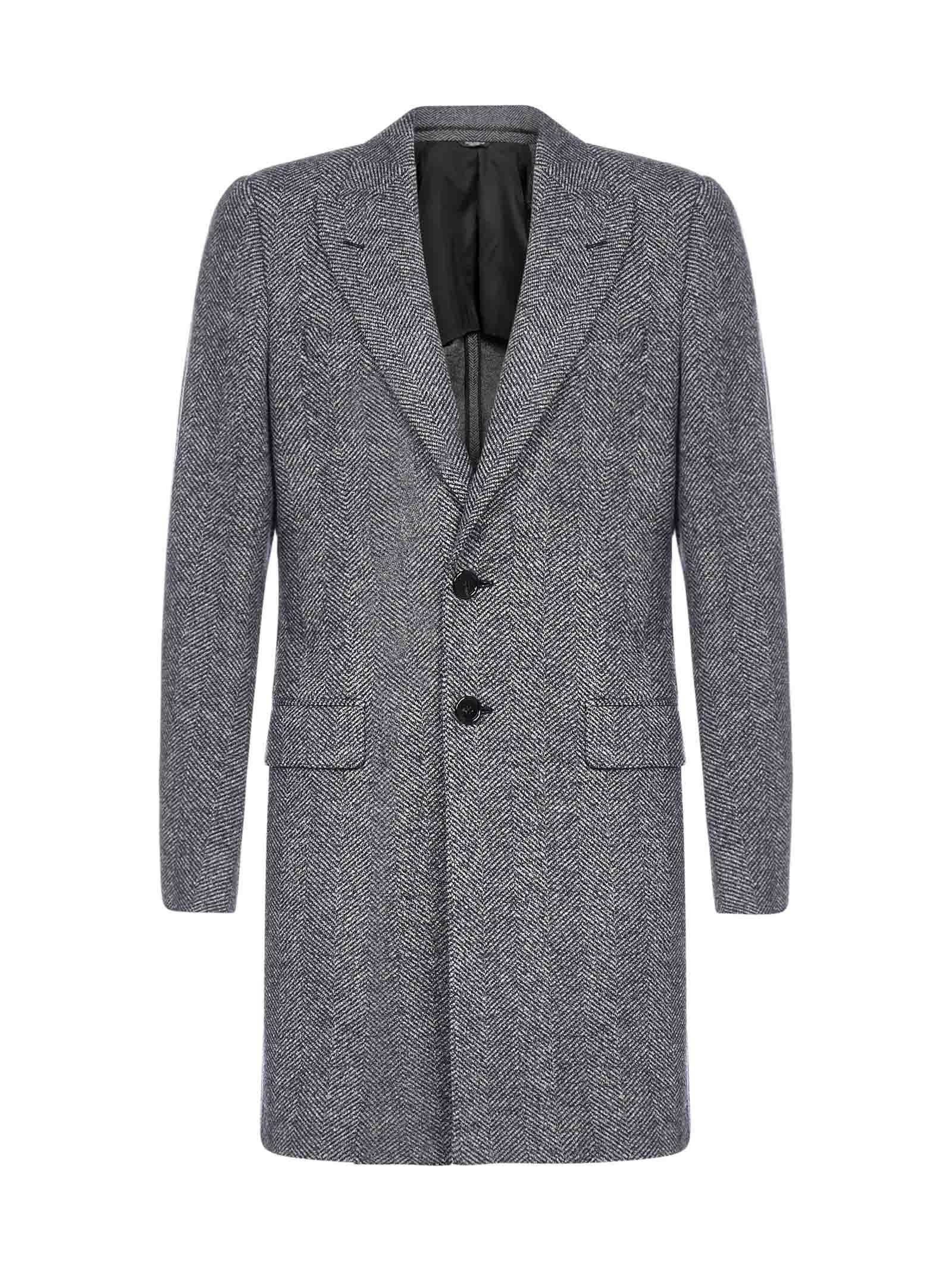 Dolce & Gabbana Chevron Wool Tailored Coat