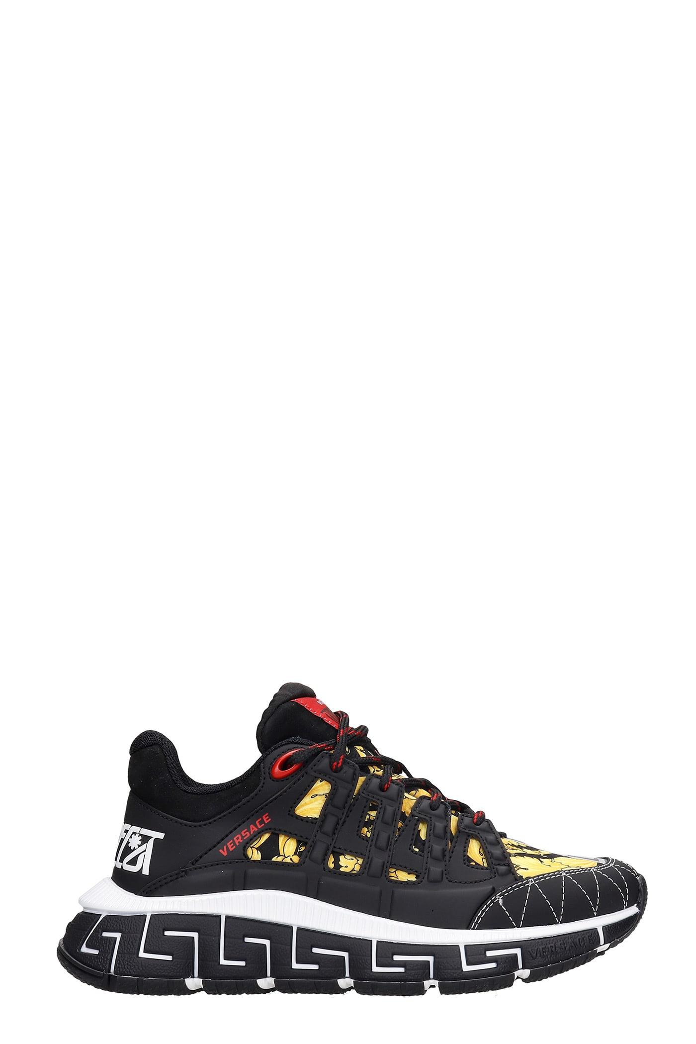 Versace Trigreca Sneakers In Black Synthetic Fibers