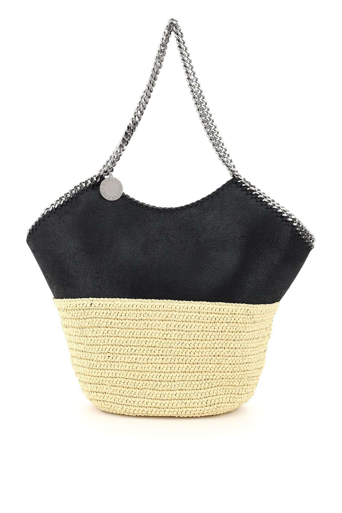 Large Faux Leather And Raffia Tote With Chain