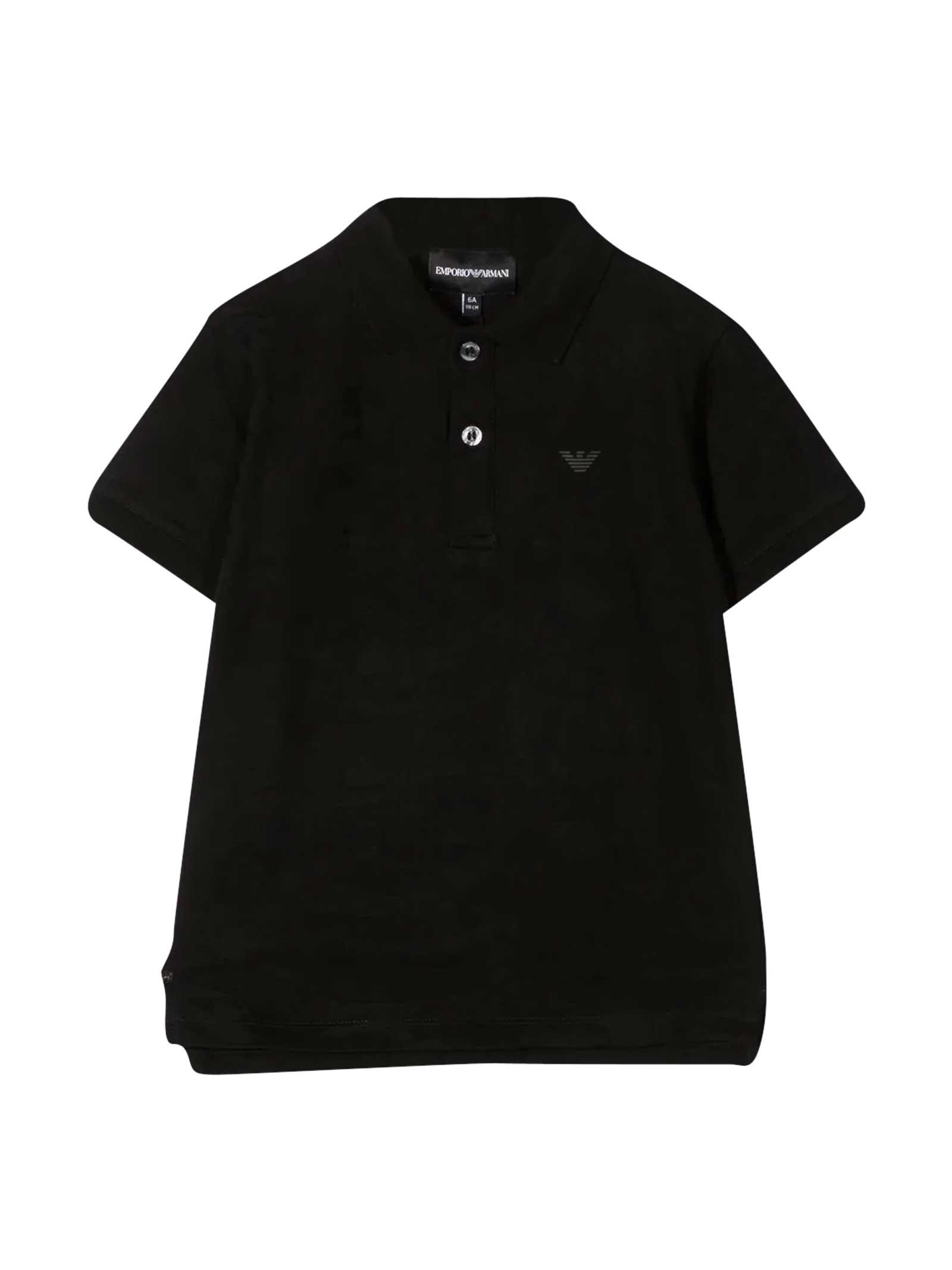 Emporio Armani Black Teen Polo Shirt With Logo