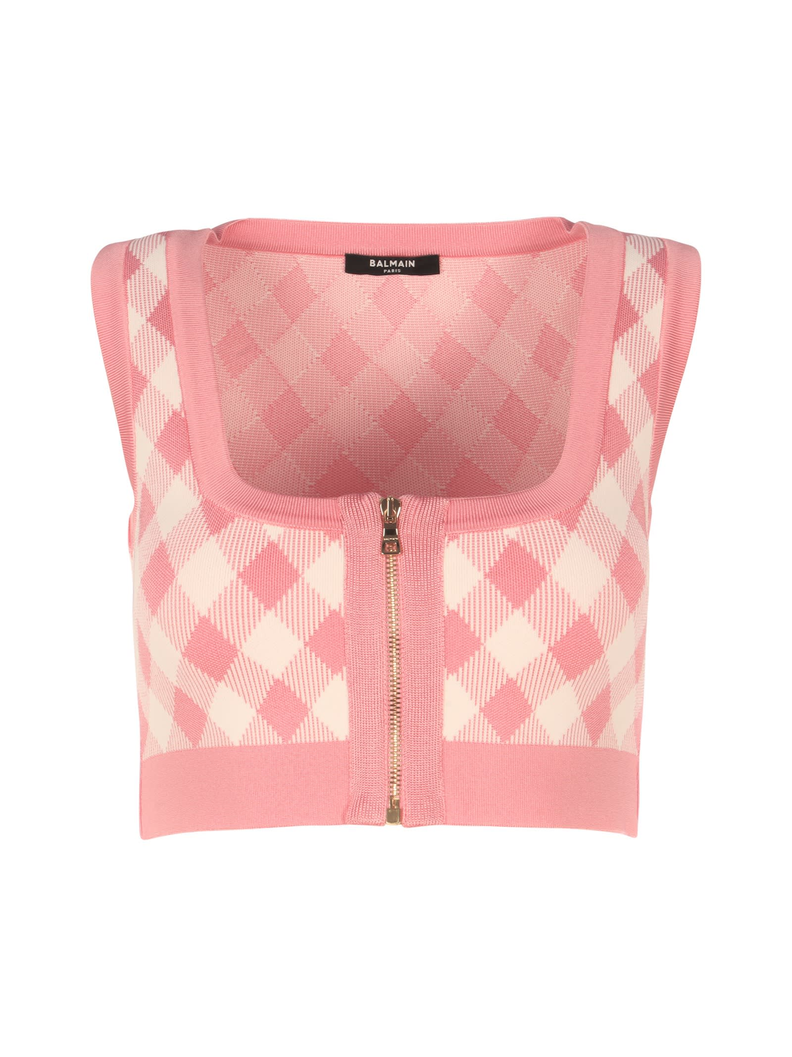 Balmain Cropped Zipped Gingham Jacquard Top