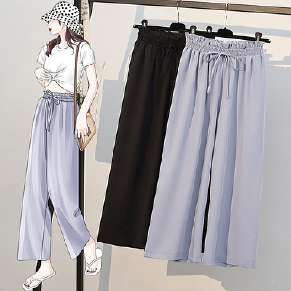 冰絲雪紡闊腿九分褲L-4XL865#大碼女裝夏季胖mm洋氣顯瘦休閑褲4F057胖妞衣櫥