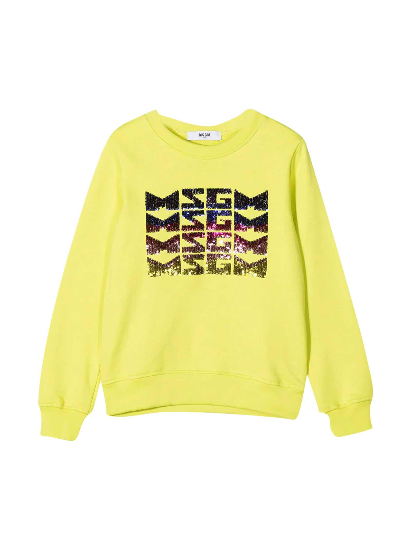 MSGM Yellow Teen Sweatshirt With Frontal Logo