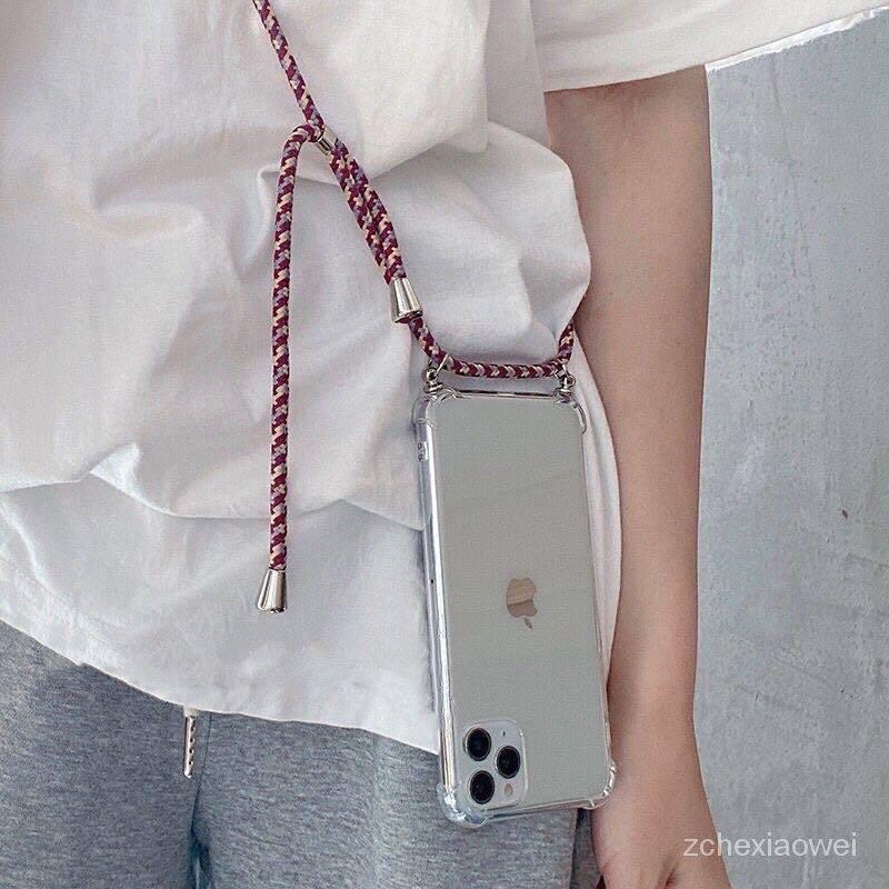 IPhone 12 11Pro XR XSMAX 自製背帶編織掛繩手機殼 8plus SE2防摔殼 6s/7P空壓殼
