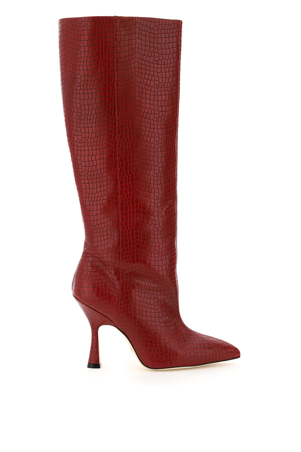 Stuart Weitzman Parton Crocodile Embossed Leather Boots