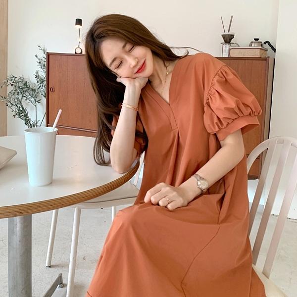 韓國製.簡約素面公主袖抓皺拼接V領長版洋裝.白鳥麗子