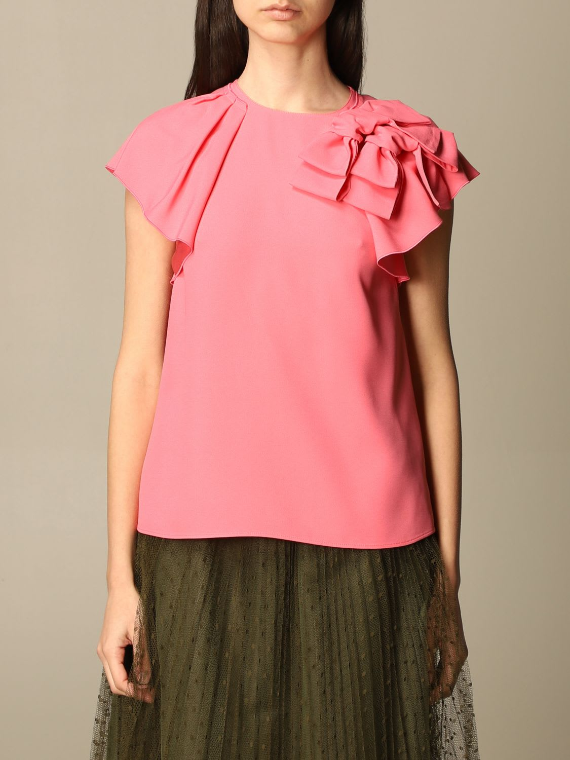 Red Valentino Top Red Valentino Satin Top With Ruffles