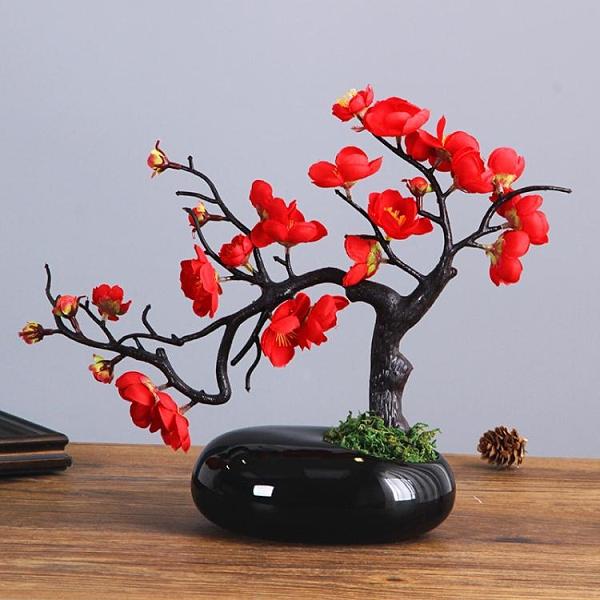 仿真花中式仿真梅花枝臘梅假花干花桌面擺設家居客廳玄關裝飾花花藝擺件【快速出貨】