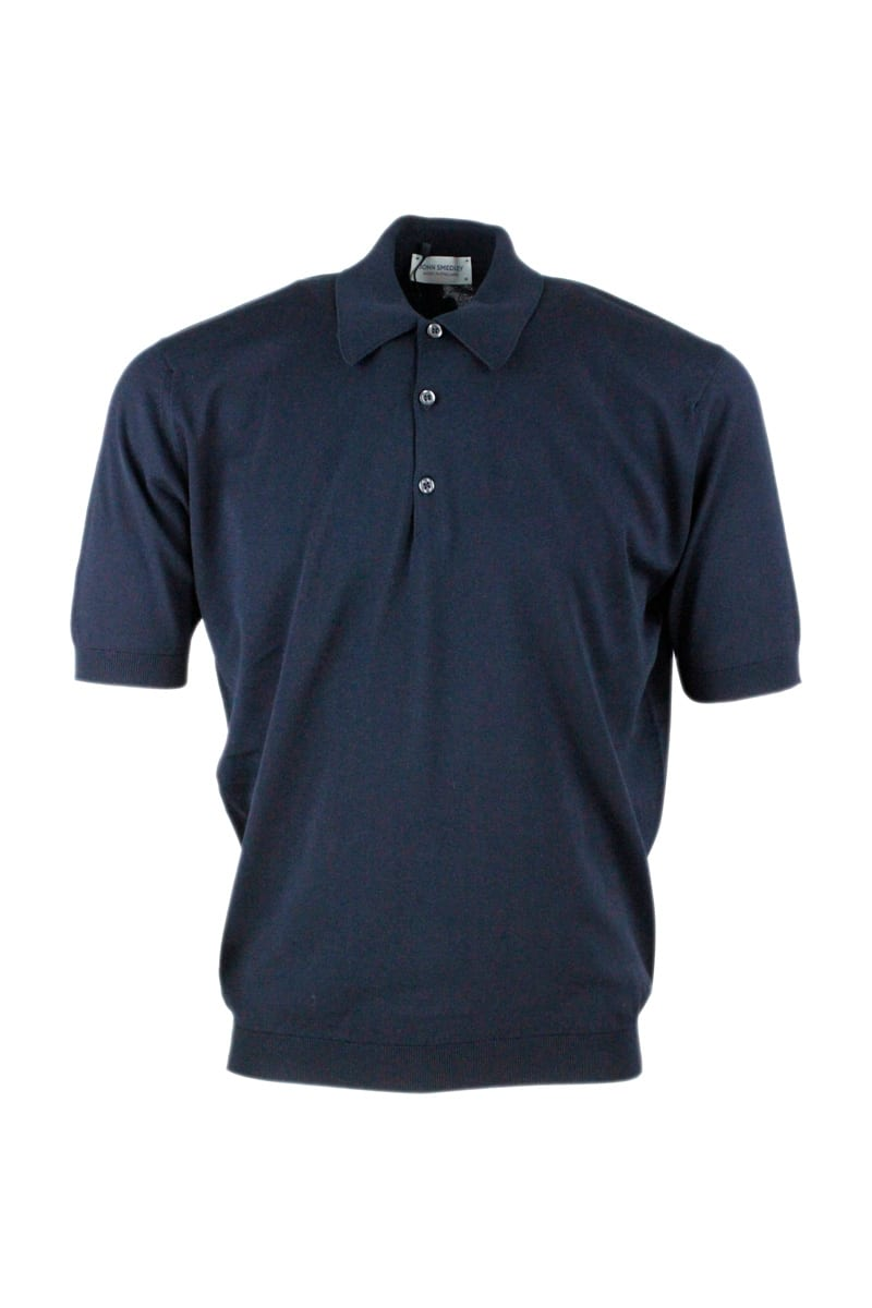 John Smedley Short-sleeved Polo Shirt In Extra-fine Cotton Thread With Three Buttons