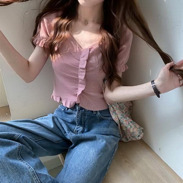 (下殺)BM女孩短版v領木耳邊短袖針織上衣女【08SG05746】