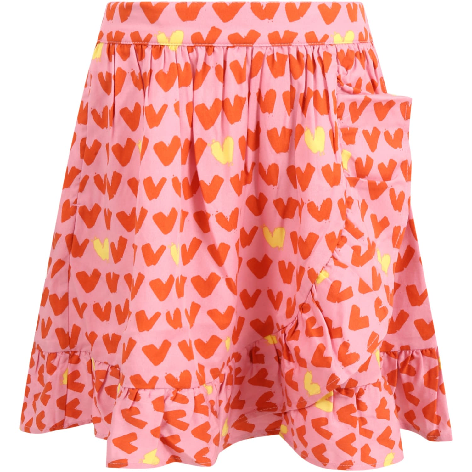 Stella McCartney Kids Pink Skirt For Girl With Hearts