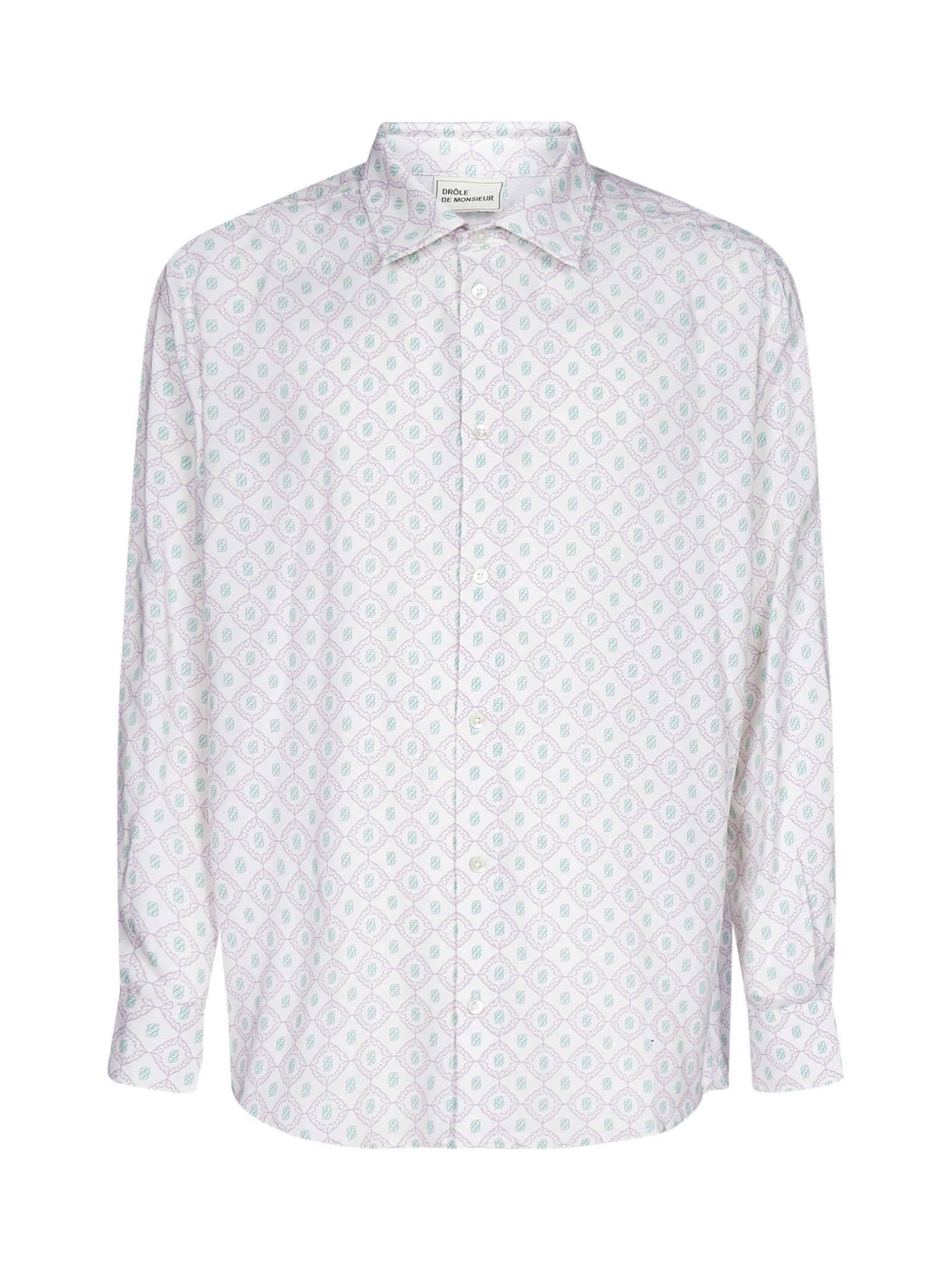 Drôle de Monsieur Monogram Print Viscose Shirt