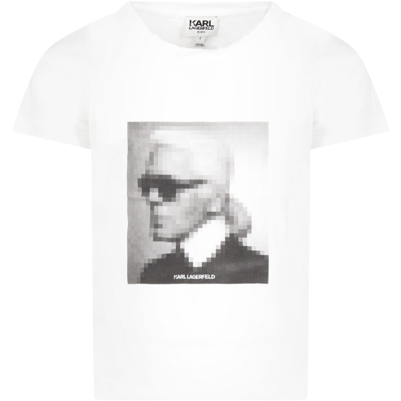 Karl Lagerfeld Kids White T-shirt For Girl With Karl Lagerfeld