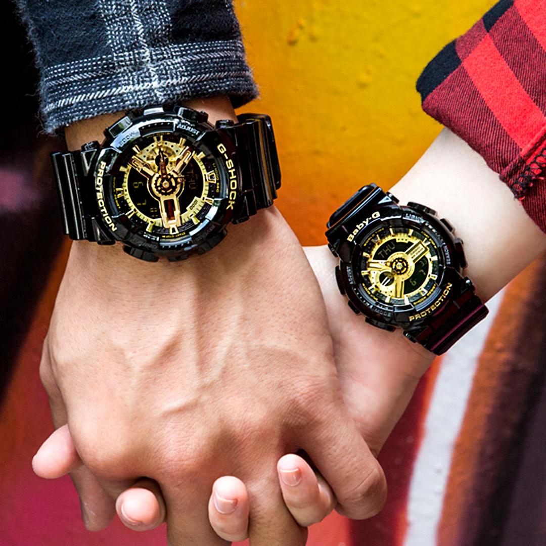 【放閃情人錶 下單抽・西堤雙人餐】G-SHOCK x Baby-G 霸王黑金潮流情人對錶/黑金x黑金 GA-110GB-1ADR+BA-110-1ADR 情侶對錶 熱賣中!