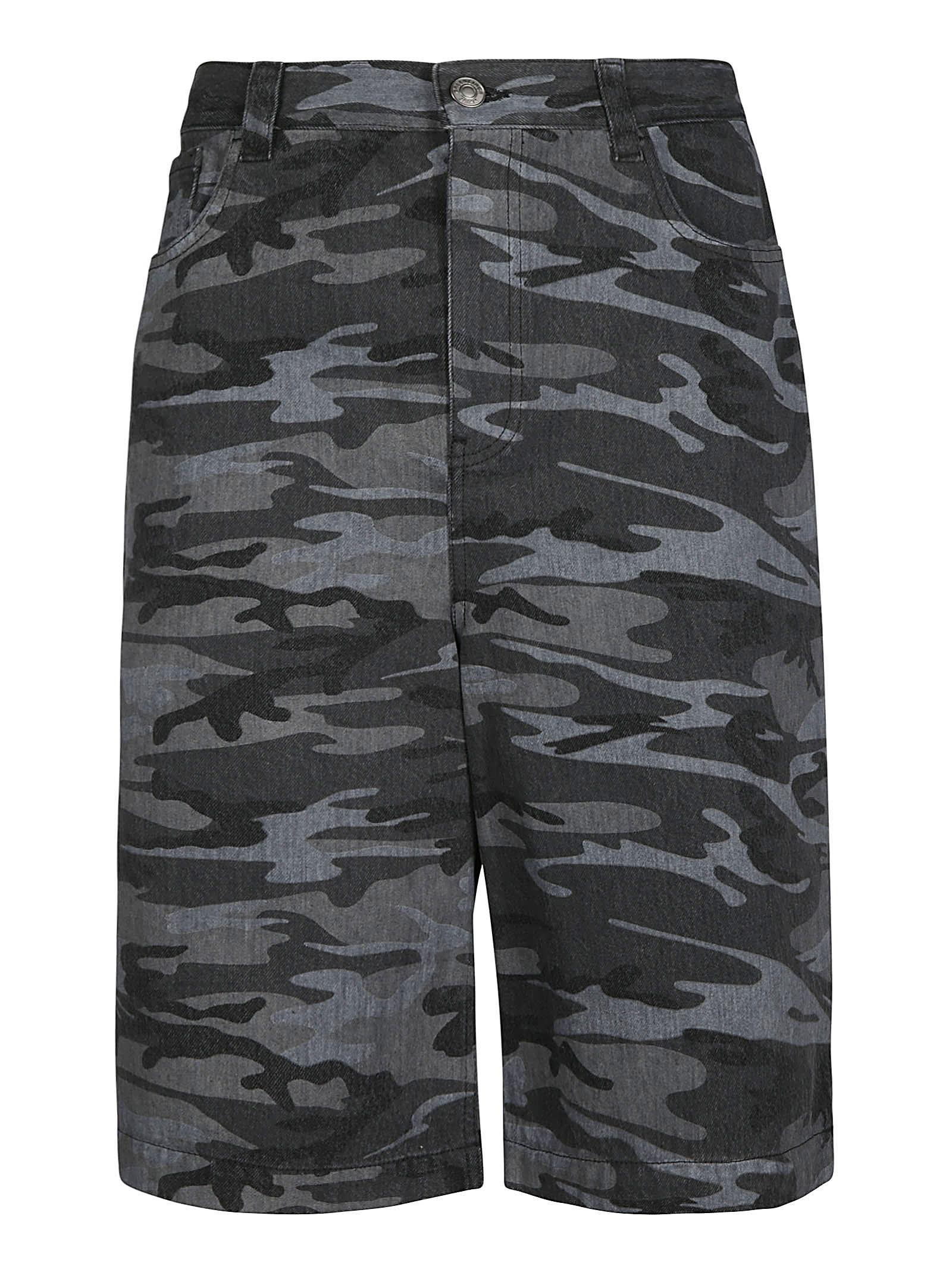 Balenciaga Camouflage Denim Bermuda Shorts