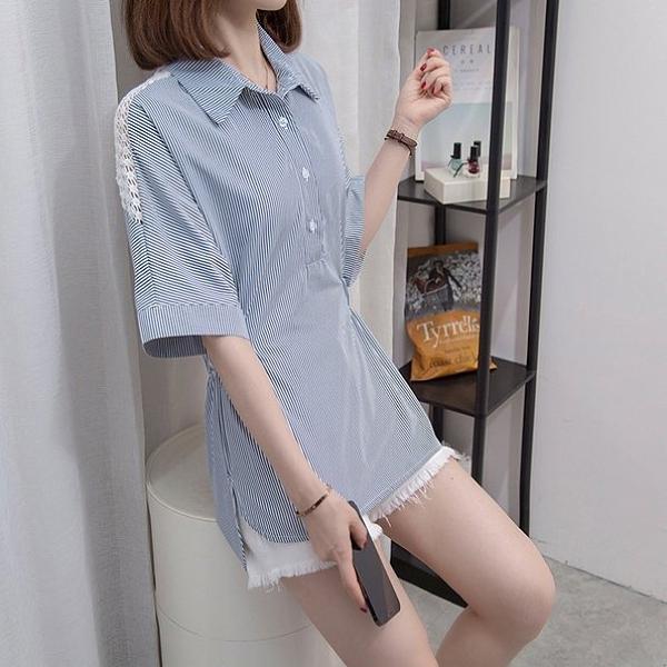 襯衫襯衣上衣L-4XL中大尺碼設計感小眾上衣寬鬆鏤空收腰襯衣R037.1251皇潮天下