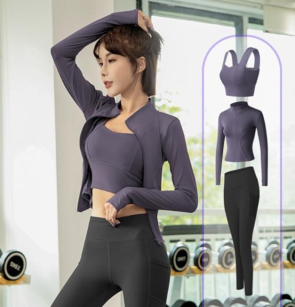 【Charm Beauty】3件套 運動套裝女 瑜伽服 健身房 跑步 網紅 專業 晨跑 時尚 高端 速乾衣 健身運動服