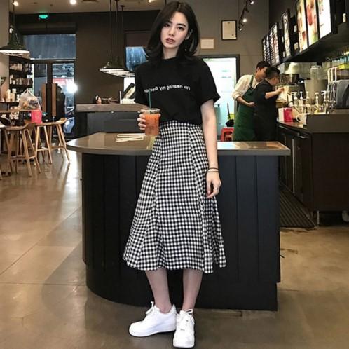 9th Street 度假風休閒上衣+格紋修身裙(超值兩件組)(預購)