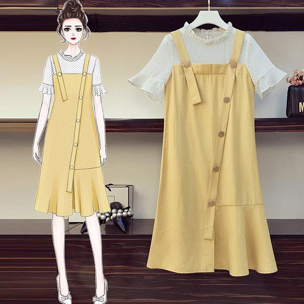 洋裝 連身裙 裙子L-4XL中大尺碼大碼胖妹妹拼接減齡時尚中長款連衣裙R04.2303胖胖美依