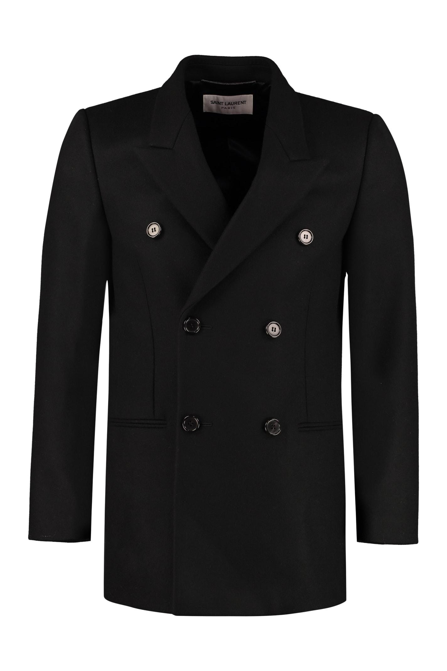 Saint Laurent Virgin Wool Double-breasted Coat