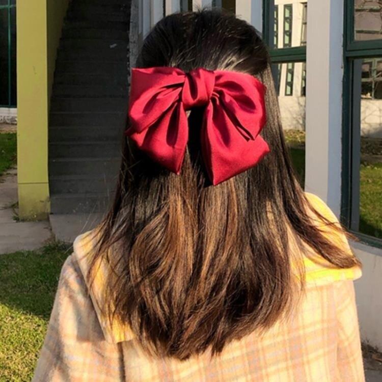 夯貨折扣! 髮卡 超大蝴蝶結發夾ins網紅同款紅色頭繩夾子頭飾女兒童發飾韓國發卡