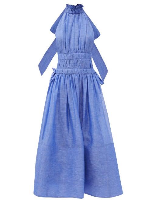 Zimmermann - Luminous Linen-blend Organza Dress - Womens - Blue