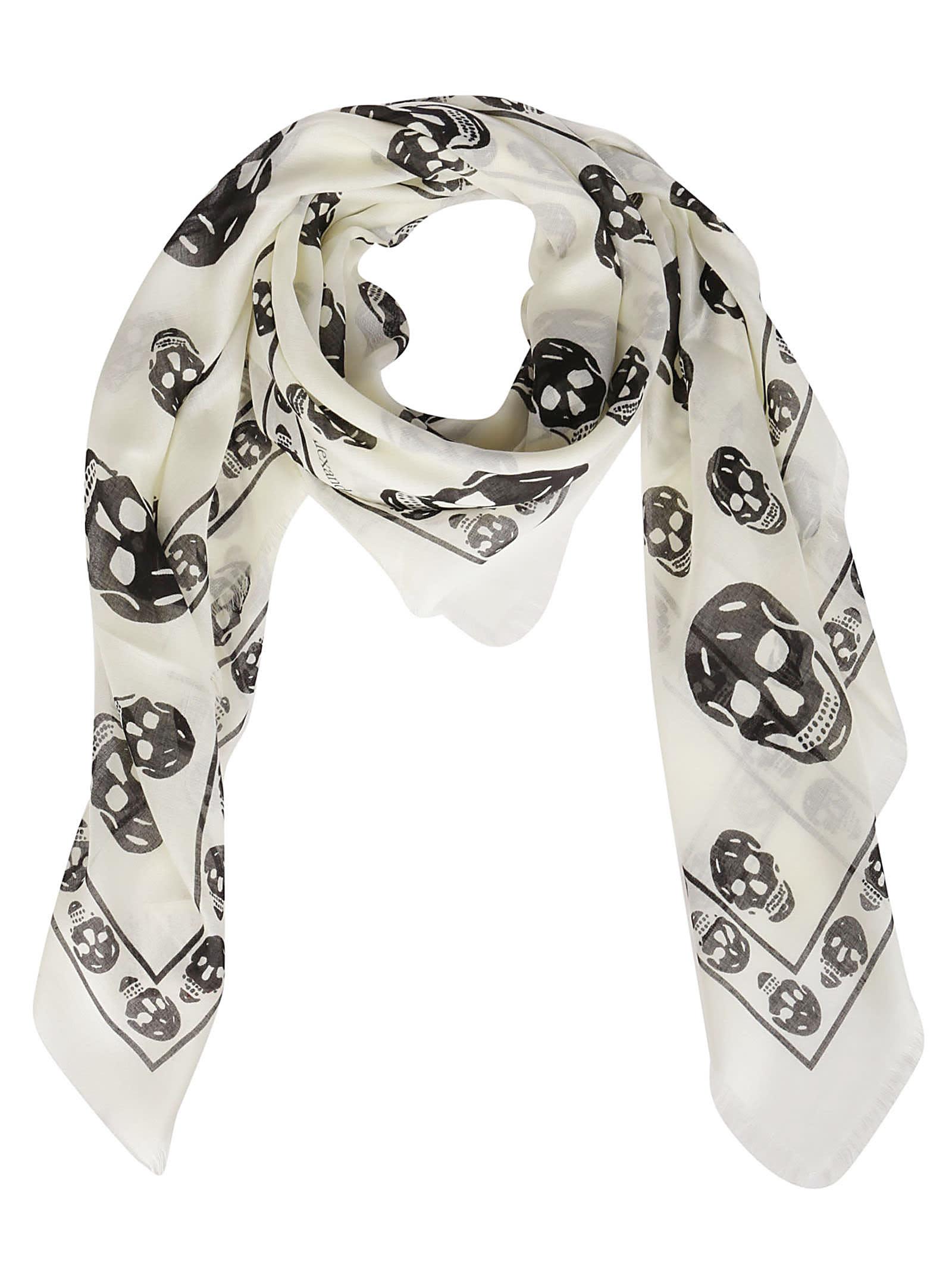 White Modal-silk Blend Scarf