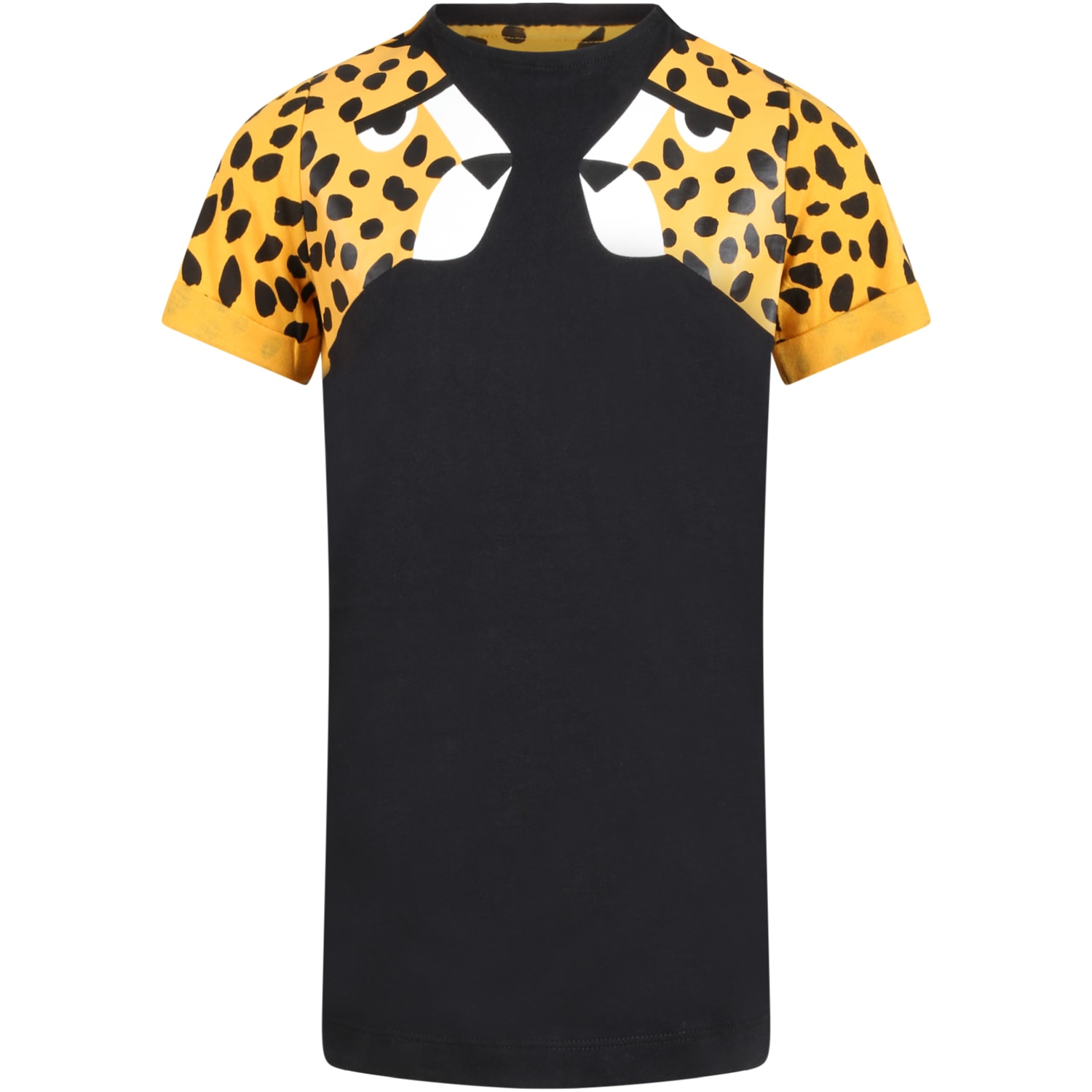 Stella McCartney Kids Black Dress For Girl With Tigers