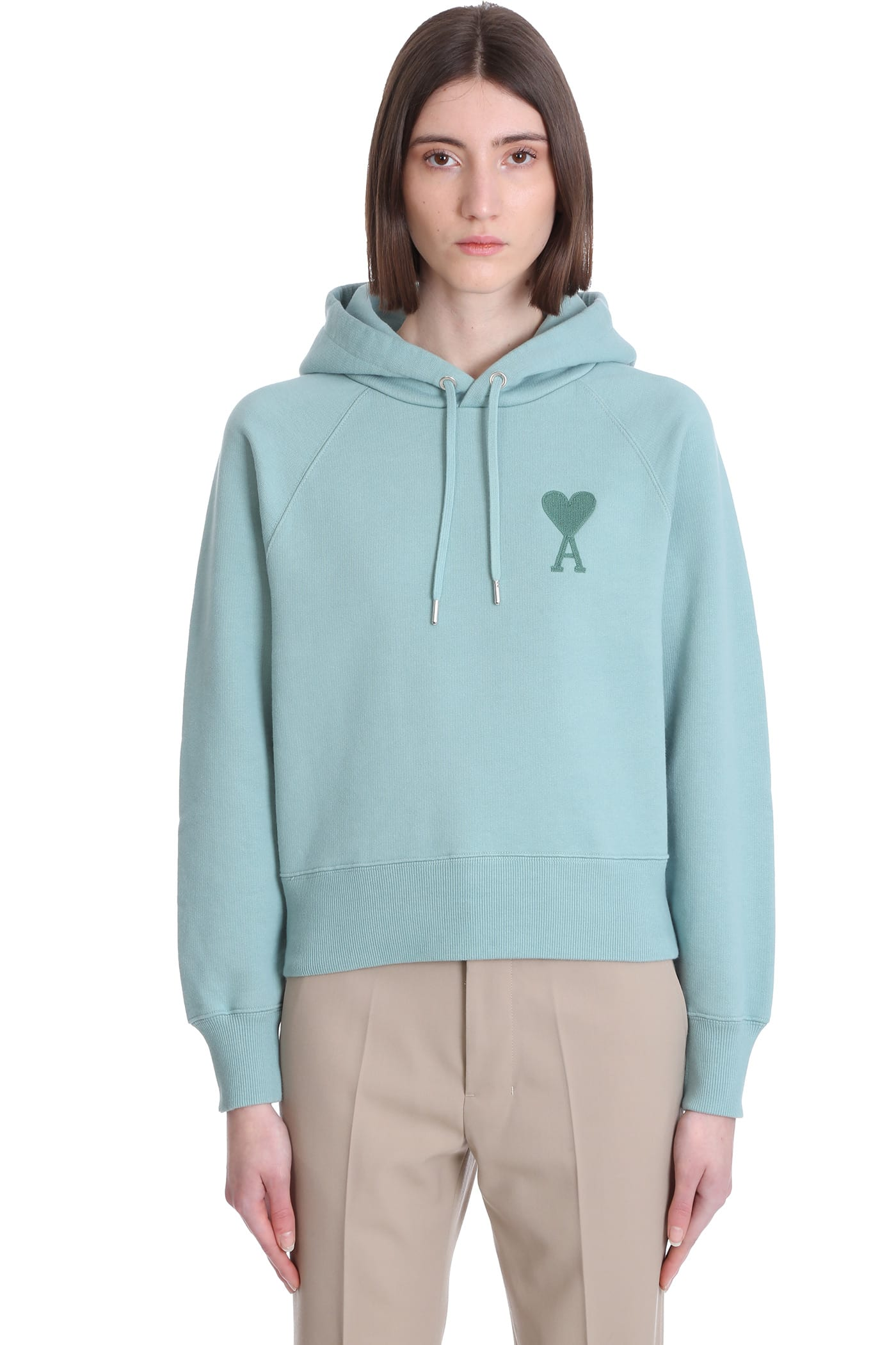 Ami Alexandre Mattiussi Sweatshirt In Green Cotton
