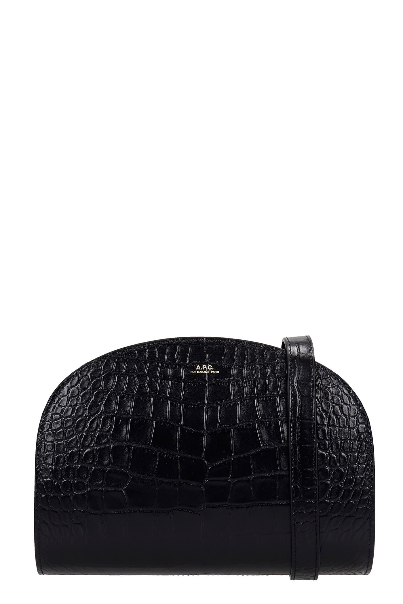 A.P.C. Demi Lune Shoulder Bag In Black Leather