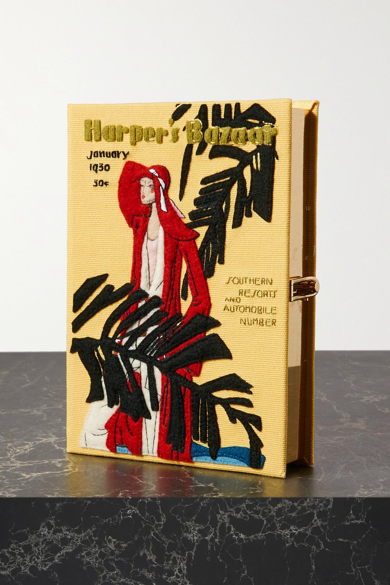 OLYMPIA LE-TAN - Harper's Bazaar 刺绣贴花帆布手拿包 - 黄色 - one size