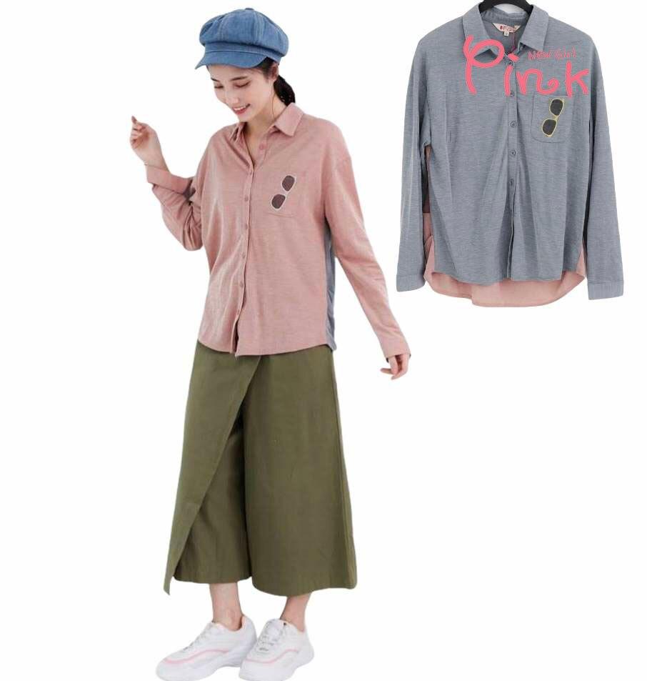 母親節 滿2千現折$200 ▶Pink*休閒撞色拼接襯衫/外罩 (2色) S2203AD▶全館$499免運