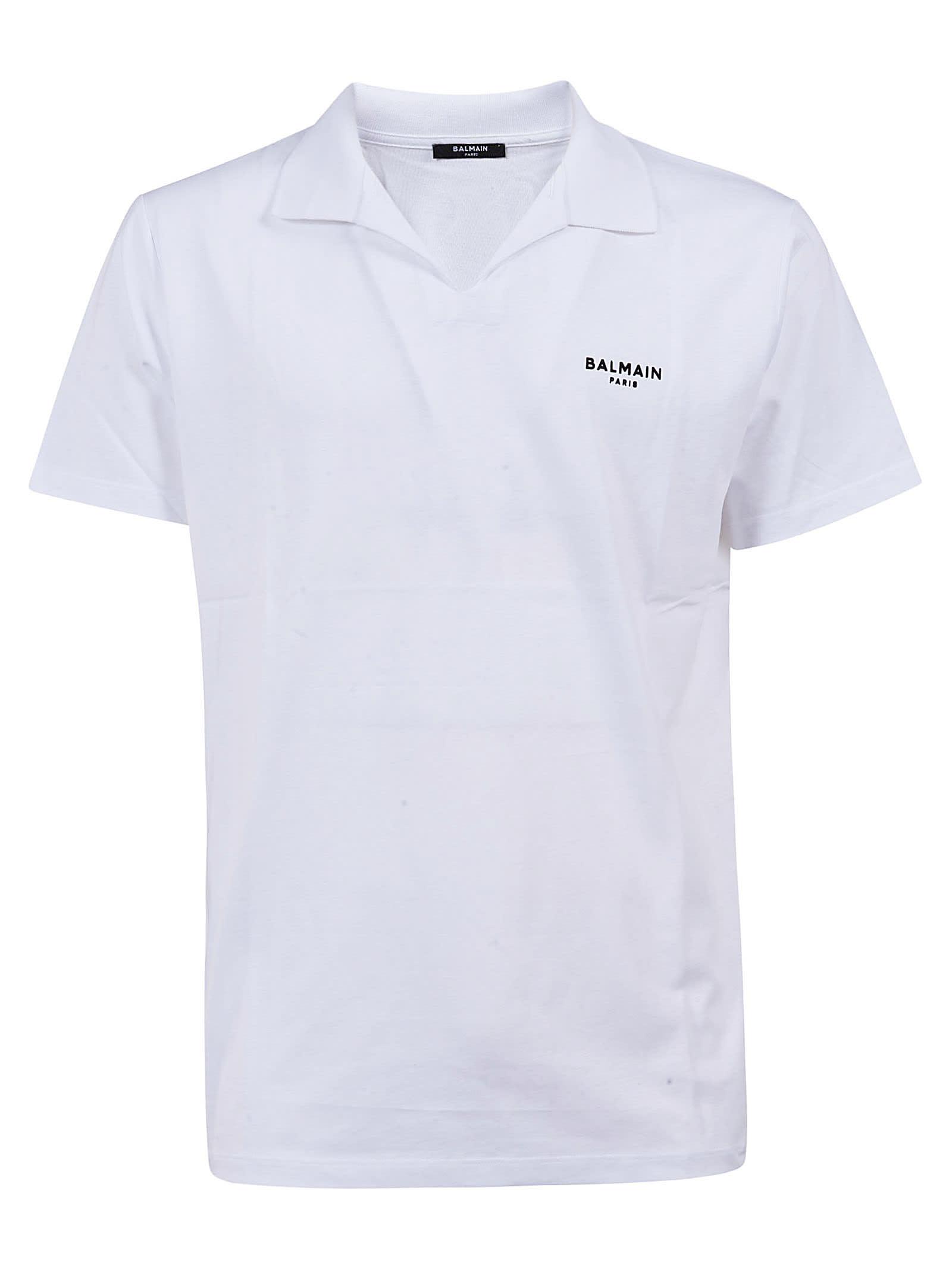 Balmain Chest Logo Plain Polo Shirt
