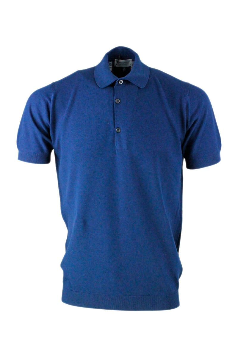 John Smedley Short-sleeved Polo Shirt In Extra-fine Pique Cotton Thread With Three Buttons