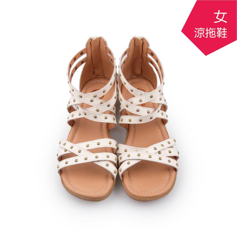 【A.MOUR 經典手工鞋】女羅馬涼拖鞋 - 鉚釘白(7211)