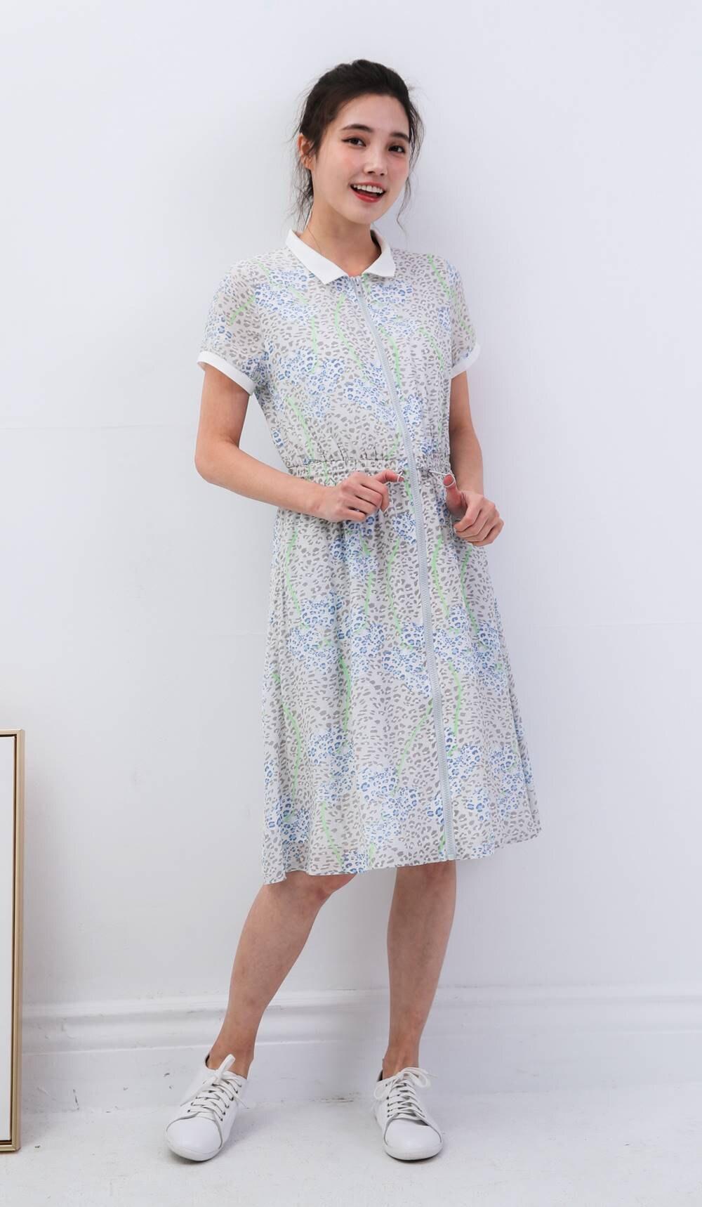 Pink* 休閒豹紋拉鍊連身裙 (2色) T3103FD► 618滿3件再89折