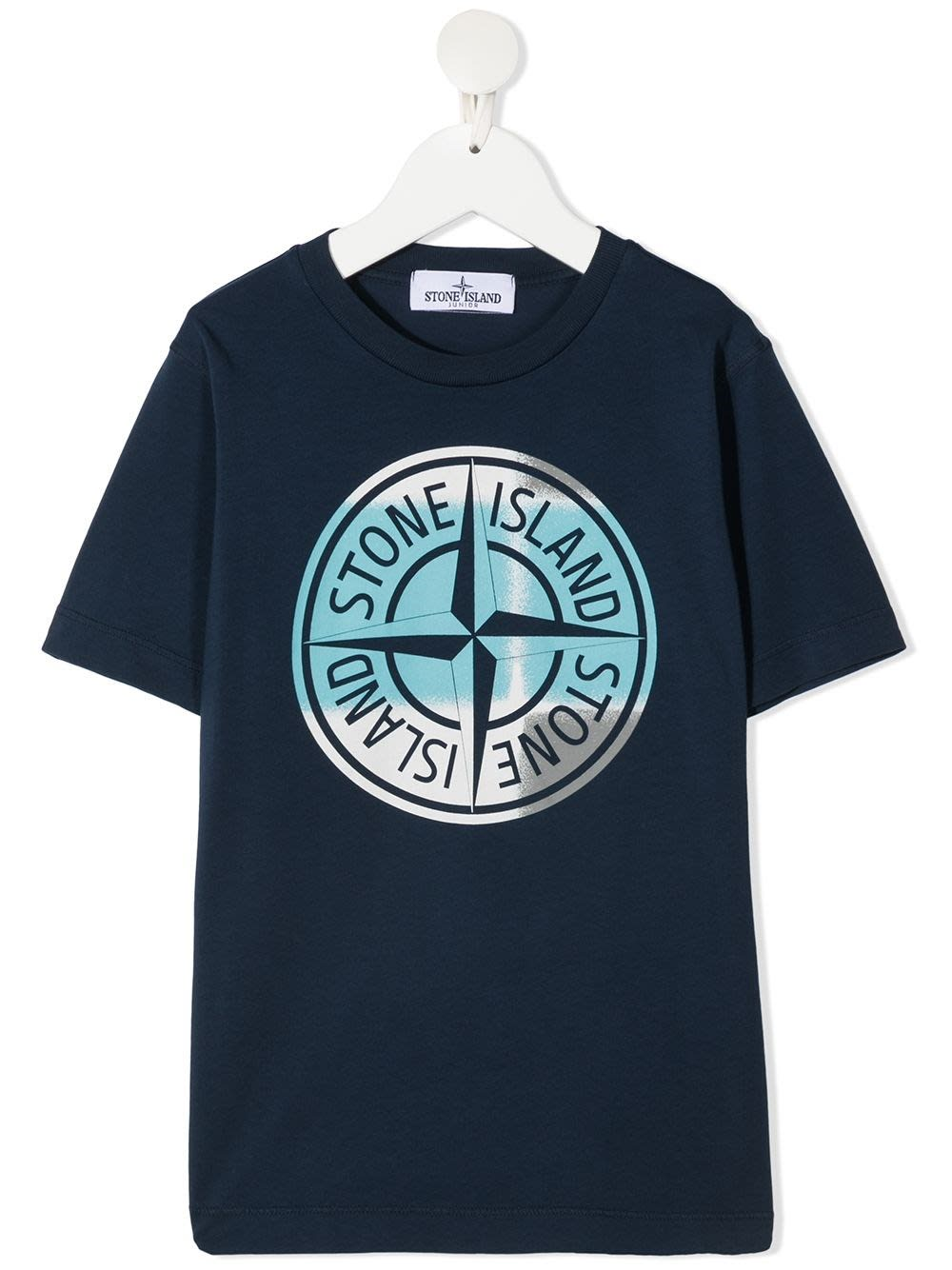 Stone Island Junior Blue Jersey T-shirt With Logo Print