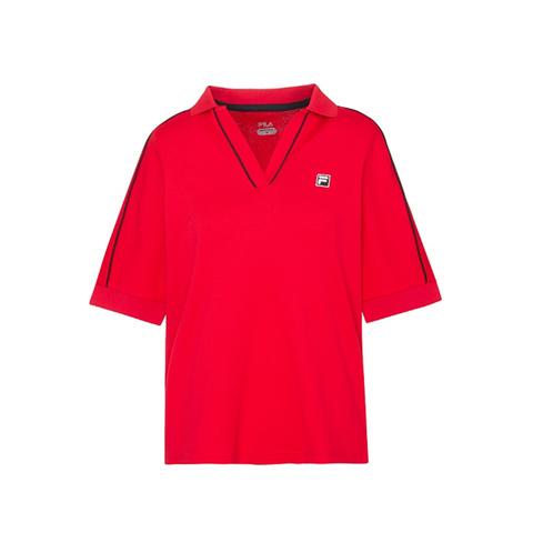 FILA 吸排抗UV POLO衫-紅色 5POV-1007-RD