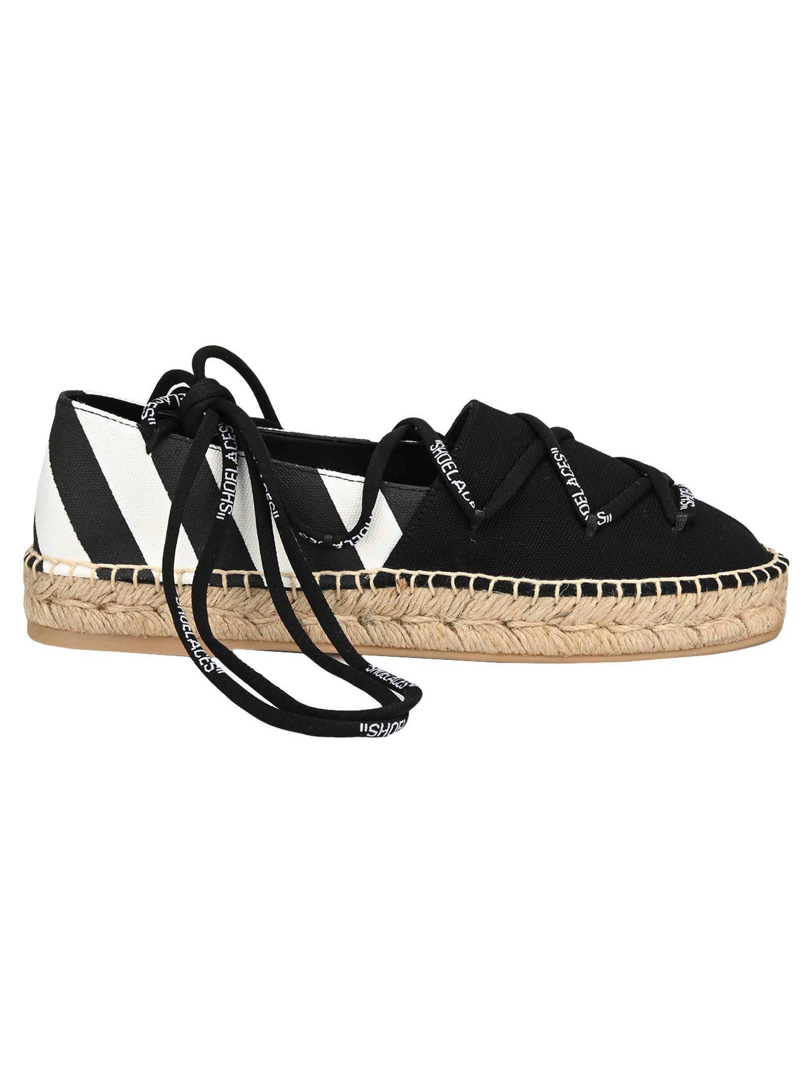Off White Lace Up Flat Espadrilles