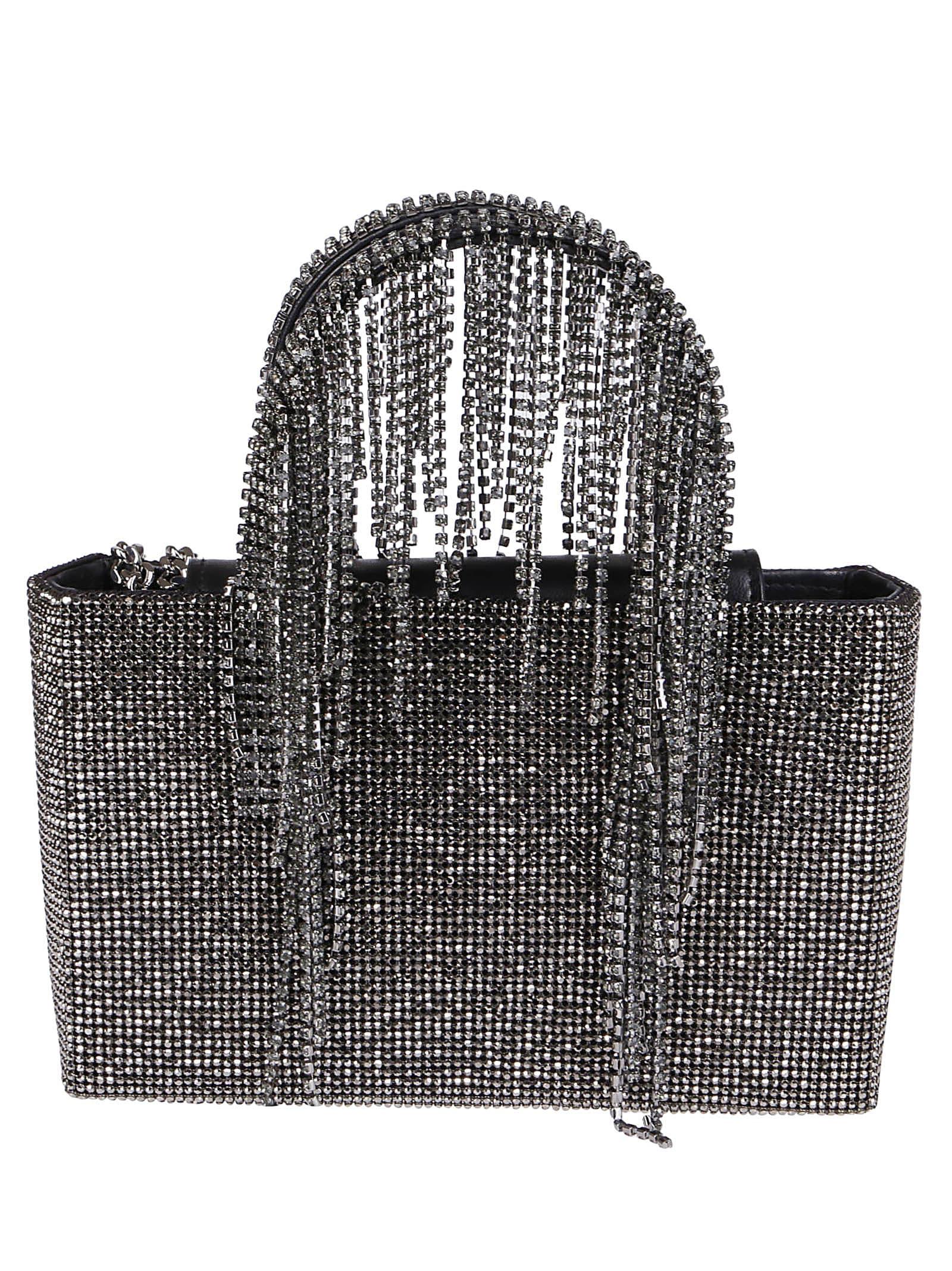 Black Crystal Fringe Tote Bag