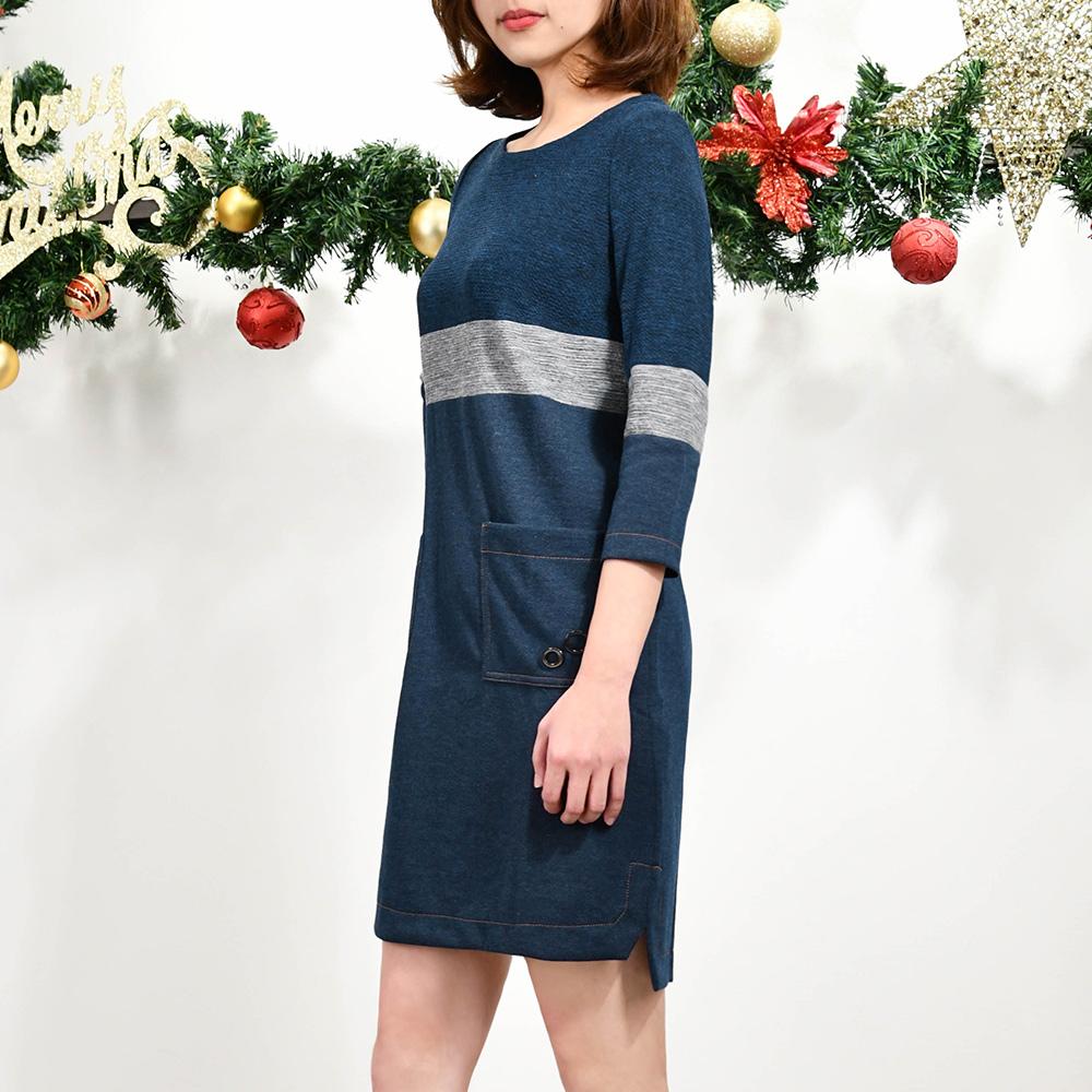 ILEY伊蕾 撞色拼接異材質七分袖洋裝(藍)951710
