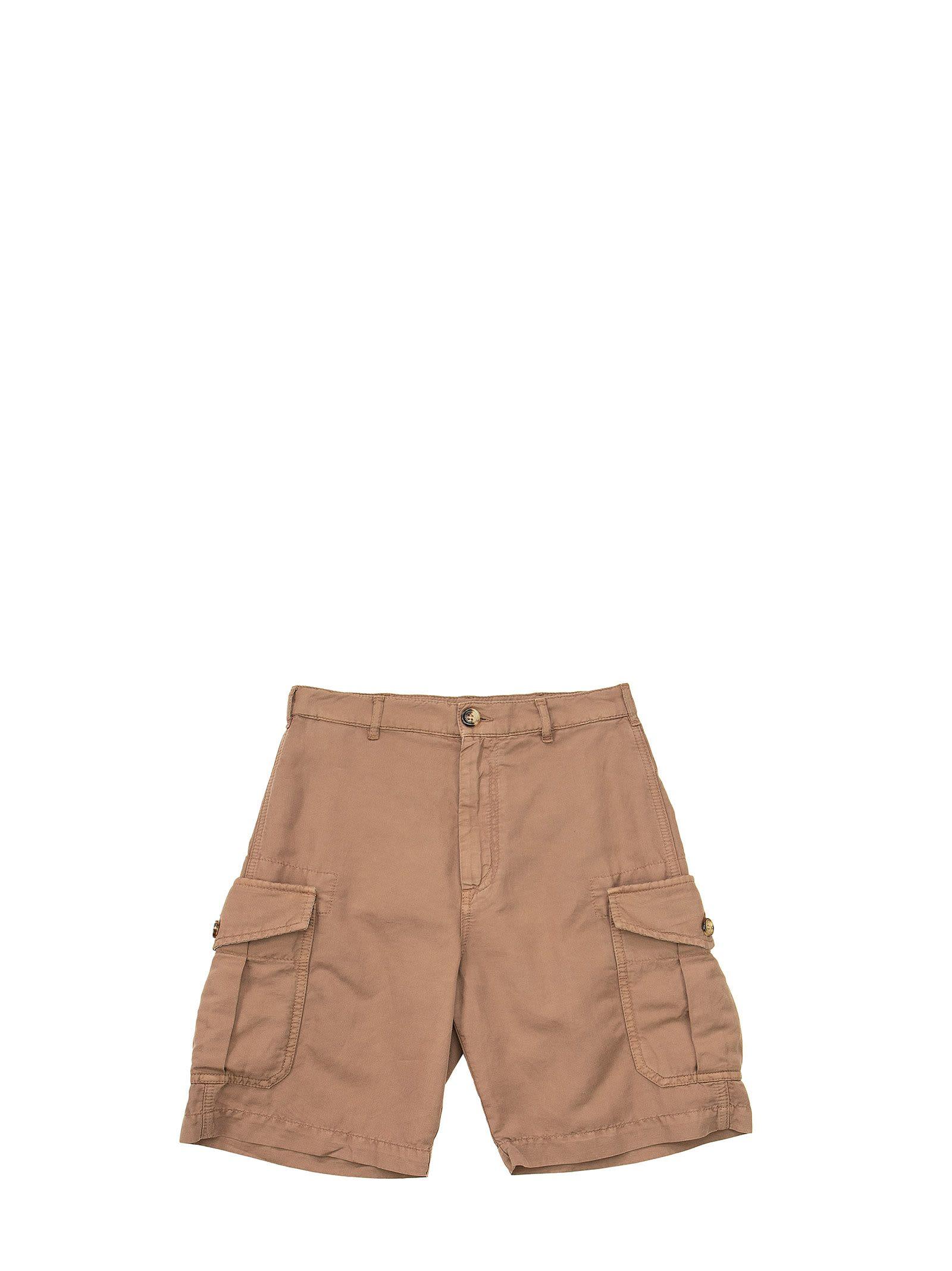 Brunello Cucinelli Garment-dyed Bermuda Shorts In Linen And Cotton Gabardine With Cargo Pockets
