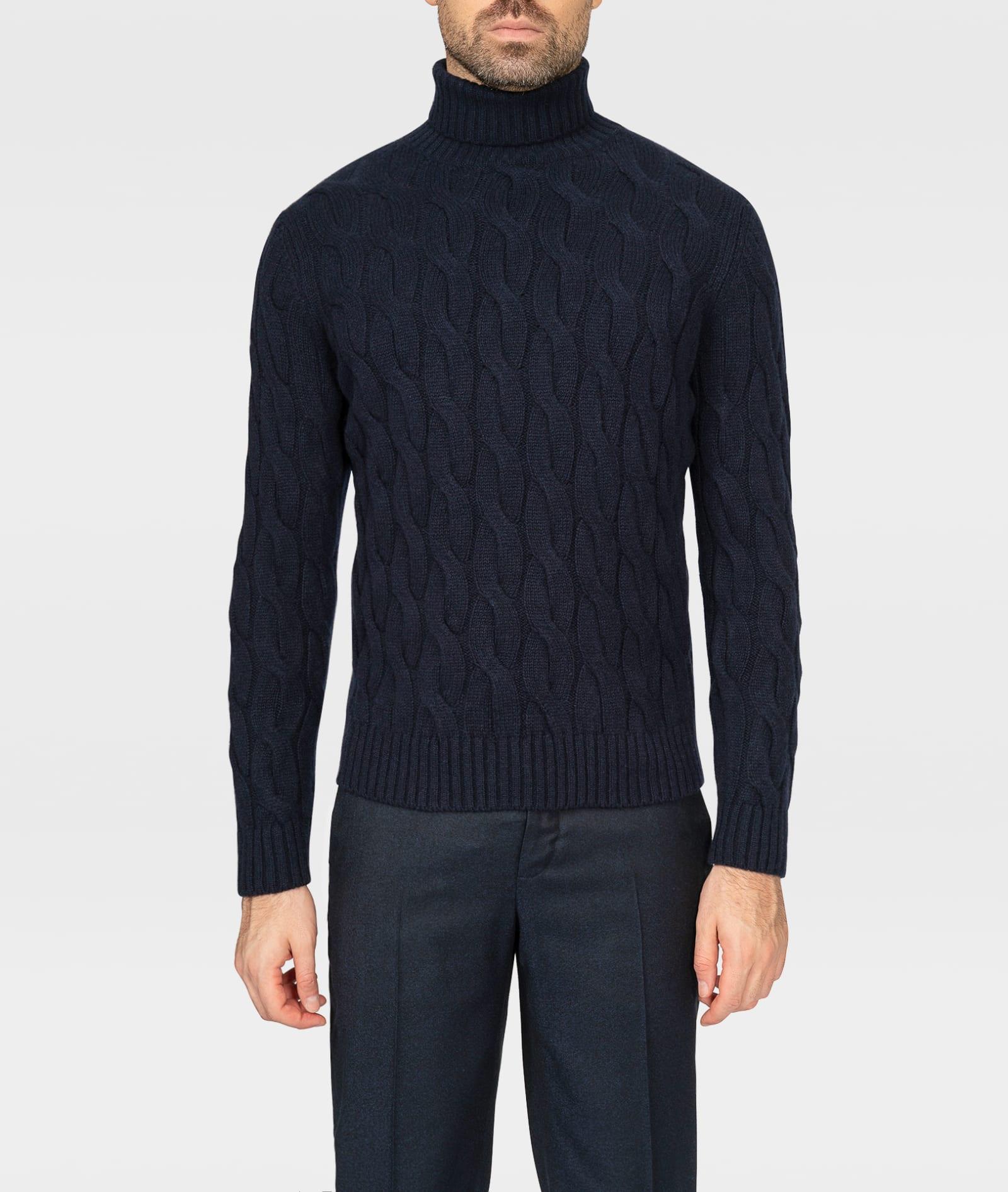 Cable Knit Turtleneck Sweater col Du Pillon