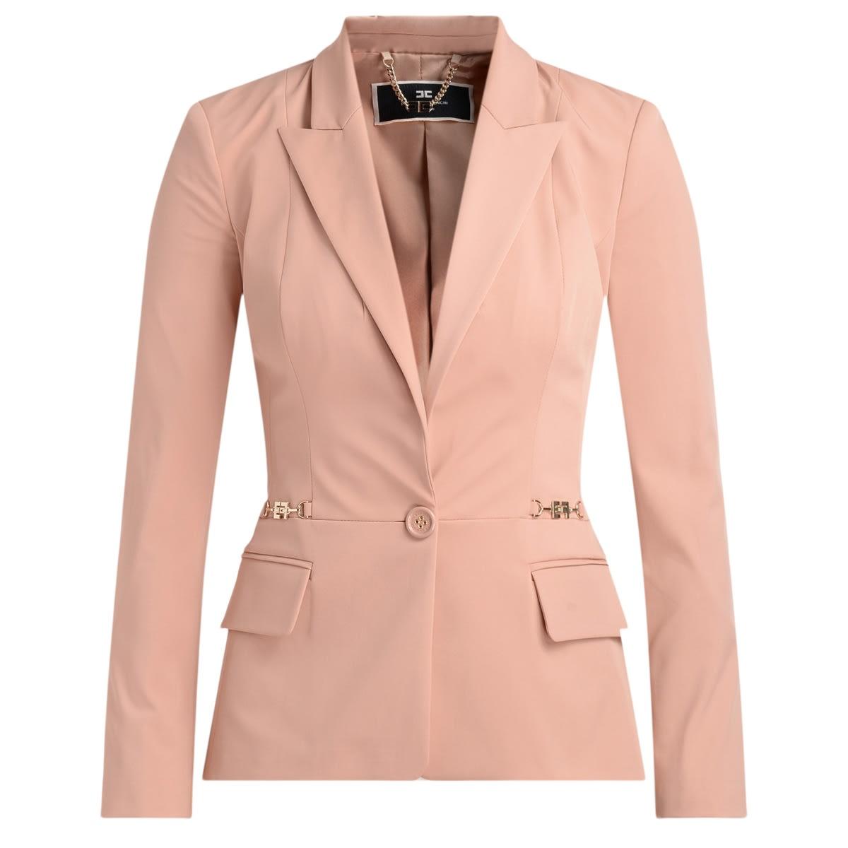 Blazer With Gold Buckles Elisabetta Franchi Pink Blush