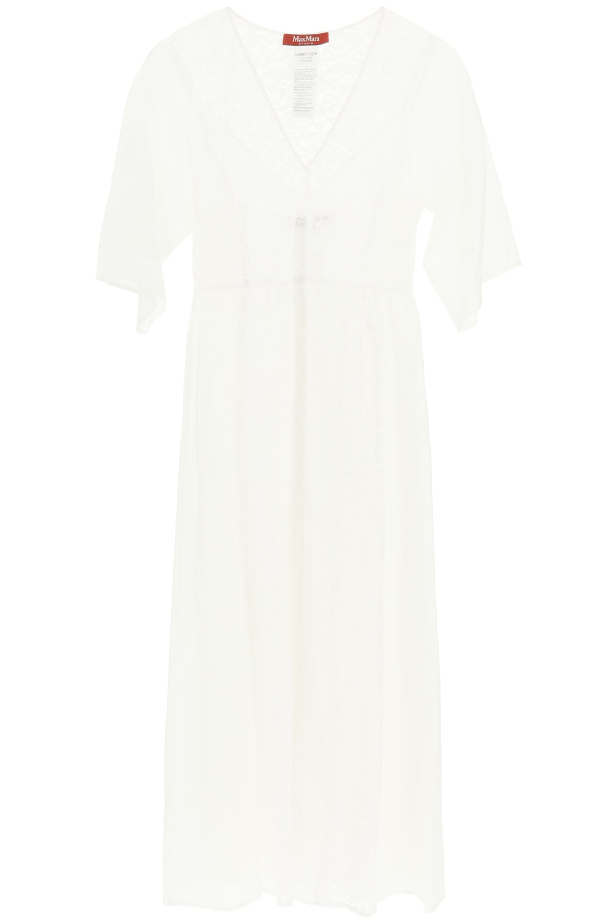 Max Mara Studio Long Dress With Lace Inserts
